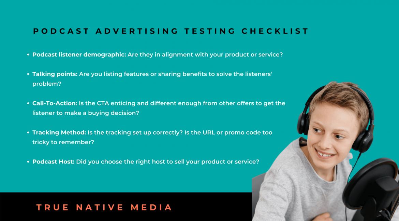 Podcast Advertising Testing Checklist